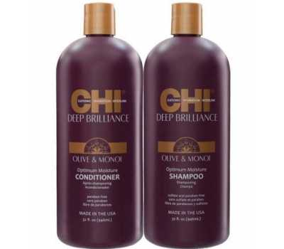 CHI Deep Brilliance Olive&Monoi Optimum Moisture Shampo+Conditioner, 950 мл + 950 мл